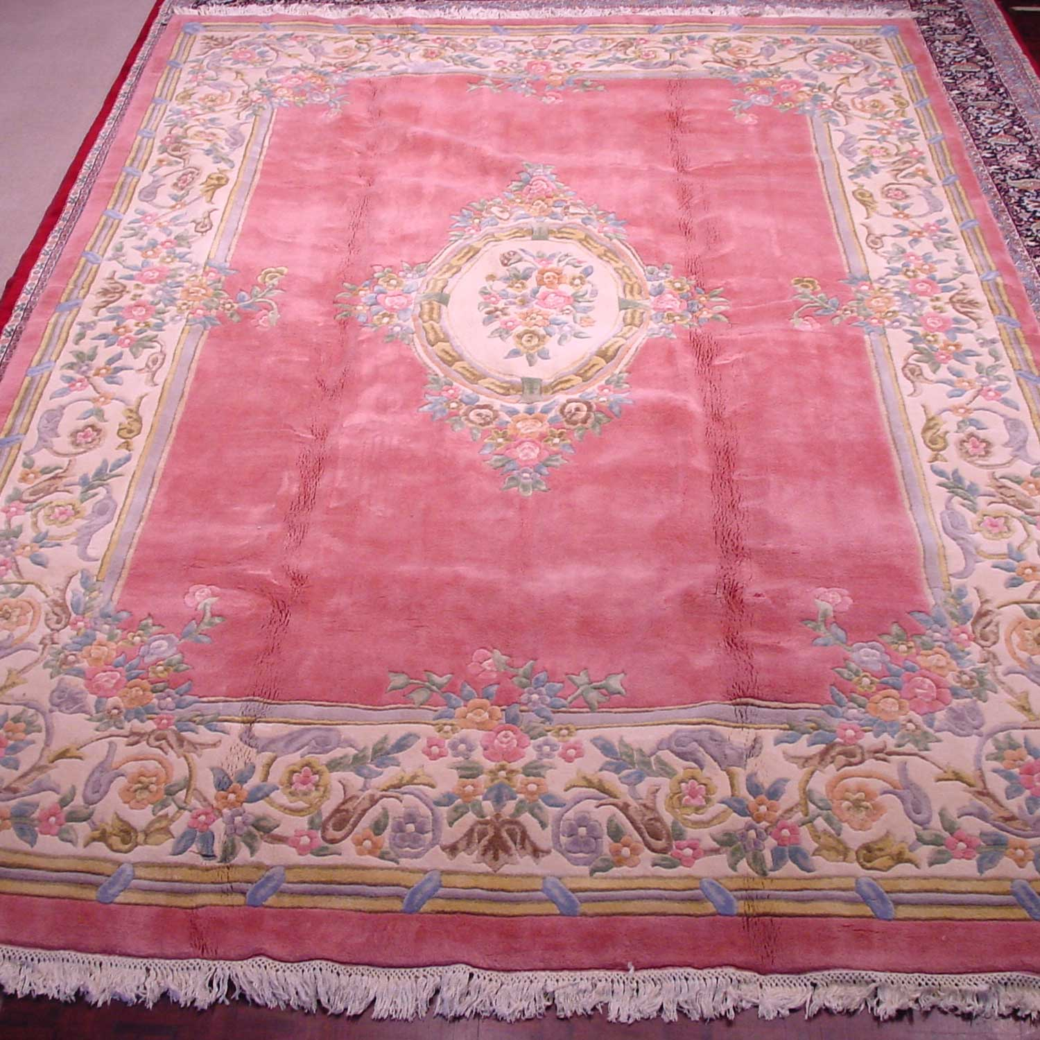 RRA 10x14 French Aubusson Design Pink/Rose Rug 14936